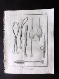 Diderot 1780's Antique Medical Print. Chirurgie 15 Surgical Instruments